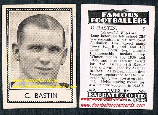 1939 Cliff Bastin 9 Arsenal Barratt famous footballers E series