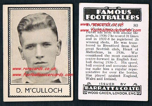 1939 D McCulloch 80 Hearts Brentford Derby County Barratt famous footballers E series card