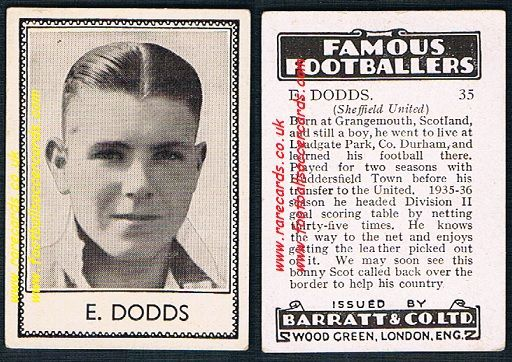 1939 E. Dodds Sheffield United Huddersfield Barratt famous footballers E series card
