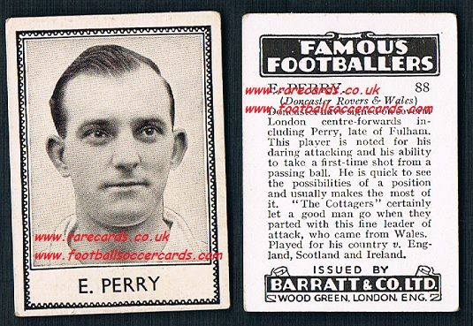 1939 E. Perry 88 Doncaster Rovers Fulham Barratt famous footballers E series card
