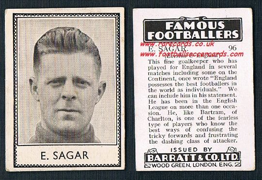 1939 E. Sagar 96 Everton Barratt famous footballers E series card