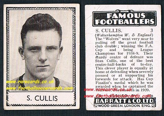 1939 error card Stan Cullis 3 Wolves Barratt famous footballers