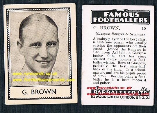 1939 G. Brown Rangers Glasgow Ashfield Barratt famous footballers E series card