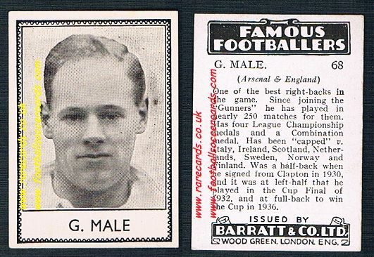 1939 G. Male 68 Arsenal Barratt famous footballers E series