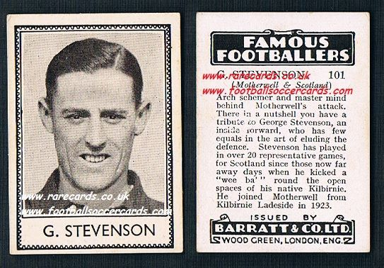 1939 G. Stevenson 101 Motherwell Barratt famous footballers E series card