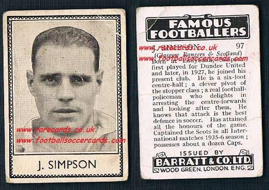 1939 J Simpson  97 Dundee United Rangers Barratt famous footballers E series card
