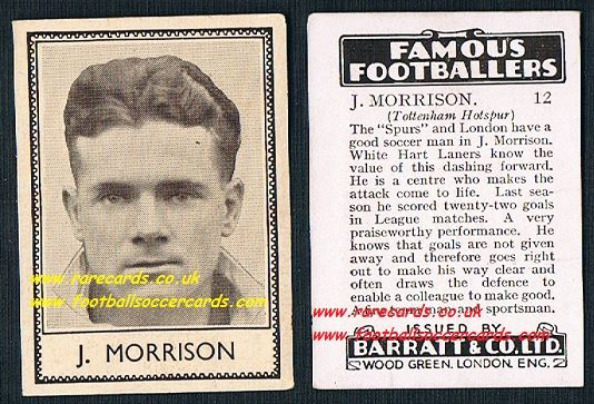 1939 J. Morrison LIGHT VARIATION 12 Spurs Barratt famous footballers E series card
