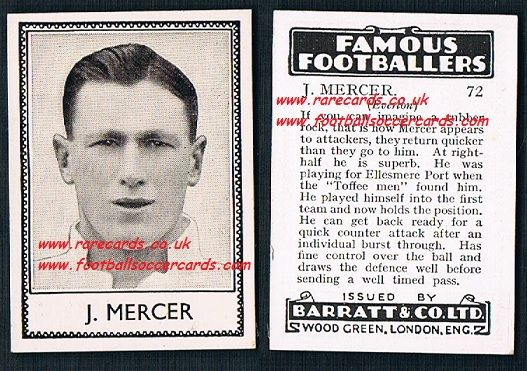 1939 Joe Mercer 72 Everton Barratt famous footballers E series card