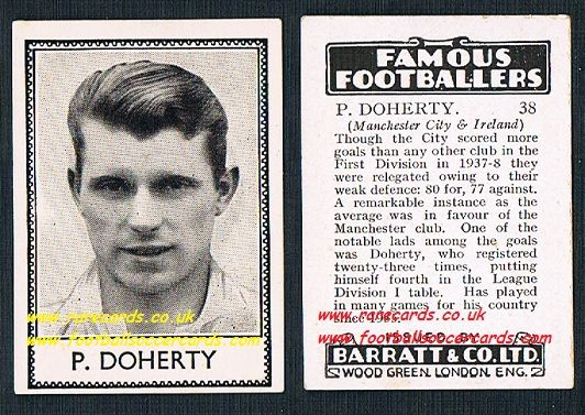 1939 LEGEND Peter Doherty 38 Manchester City Barratt famous footballers E series card
