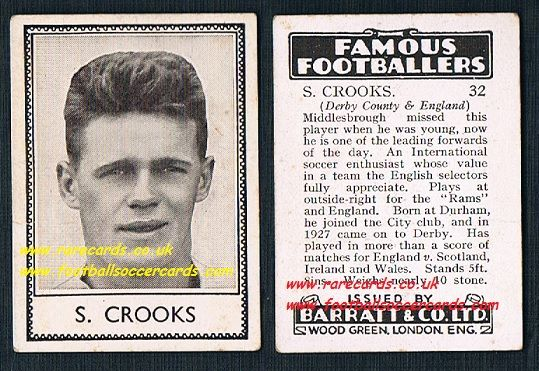 1939 S. Crooks 32 Derby County Durham Barratt famous footballers E series card