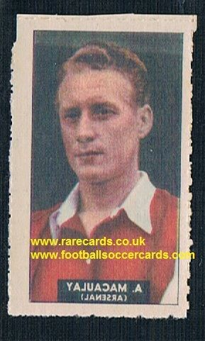 1948 Barratt WHC transfer decal Archie MacAulay Arsenal