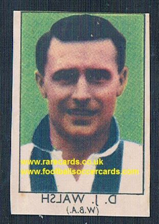 1949 Barratt Napro transfer decal D.J. Walsh WBA West Bromwich Albion