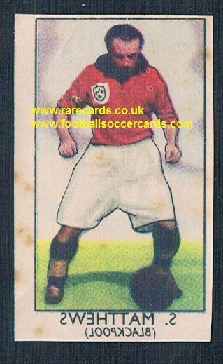 1949 Barratt Napro transfer decal Stanley Matthews Blackpool