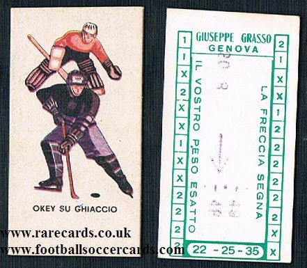 1950s ITALY weight vending machine card vintage Ice Hockey