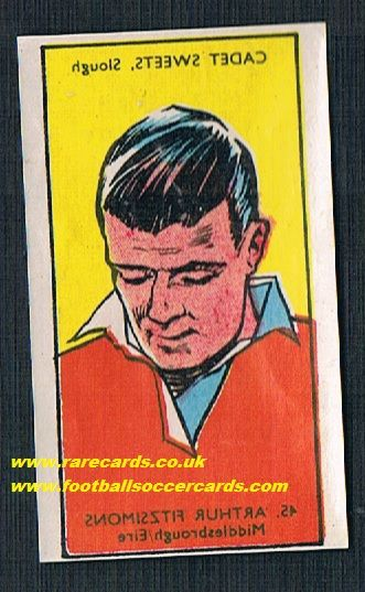 1958 Cadet sweets footballers decal transfer Boro Arthur Fitzsimons Drogheda Shamrock Rovers