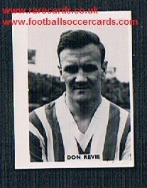 1958 Colinville Footer Foto Gum card British International Football Stars Don Revie Sunderand Leeds
