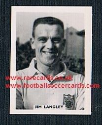 1958 Colinville Footer Foto Gum card British International Football Stars Fulham Jim Langley