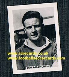 1958 Colinville Footer Foto Gum card Football Stars Swansea Len Allchurch Wales