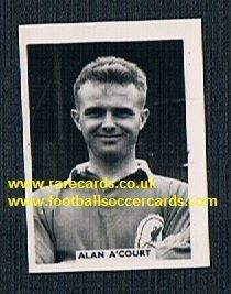 1958 Colinville Footer Foto Gum card International Football Stars Alan A'Court Liverpool