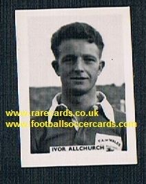 1958 Colinville Footer Foto Gum card International Football Stars Allchurch NUFC Swansea Wales