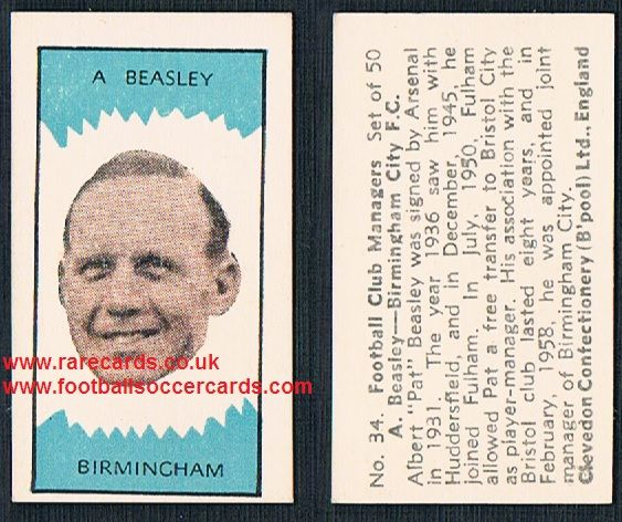 1959 Clevedon Football Club Managers Beasley Arsenal Huddersfield Fulham Birmingham