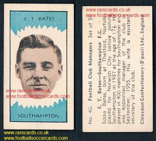 1959 Clevedon football club managers Eddie bates #40 Norwich Southampton