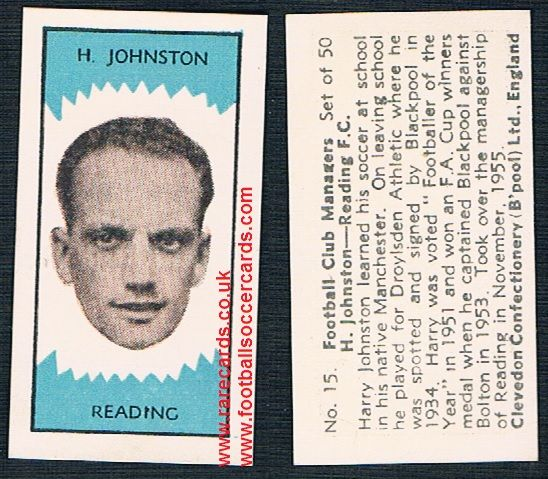 1959 Clevedon Football Club Managers Harry Johnston Blackpool Reading