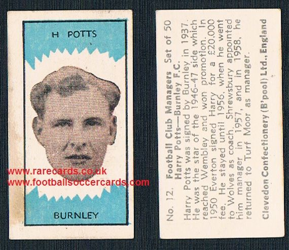 1959 Clevedon Football Club Managers Harry Potts Burnley Wolves Shrewsbury