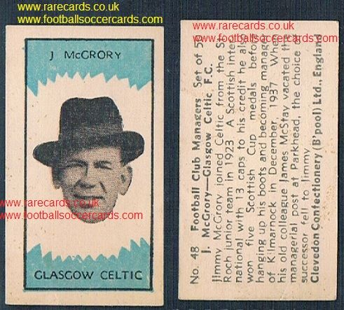 1959 Clevedon football club managers Jimmy McGrory #48 Glasgow Celtic