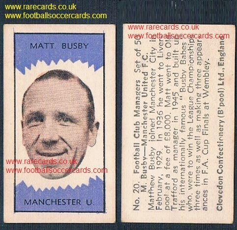 1959 Clevedon football club managers Manchester United legend Matt Busby #20