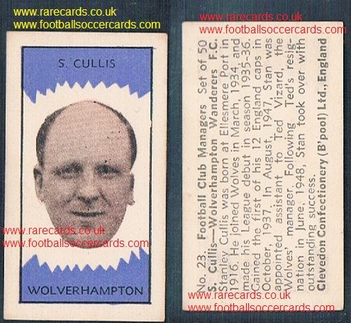 1959 Clevedon football club managers Stan Cullis #23 Wolves