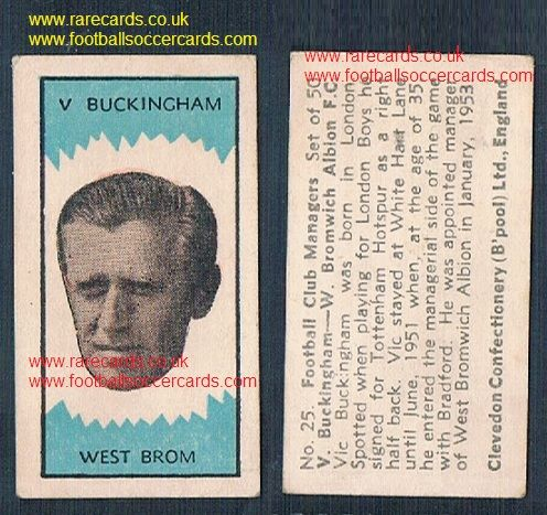 1959 Clevedon managers Cruyff boss Vic Buckingham #25 Spurs Ajax WBA Barcelona