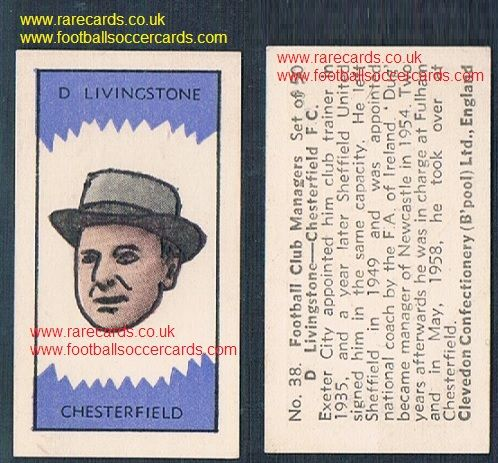 1959 Clevedon managers D.Livingstone #38 Exeter Sheff Utd Newcastle Chesterfield