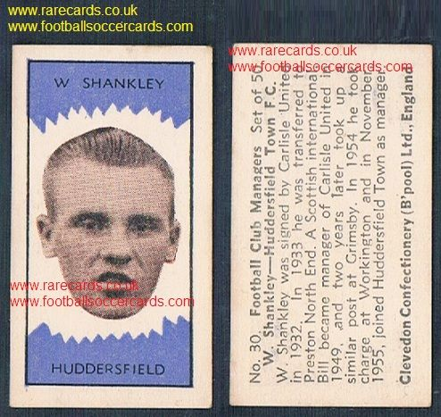 1959 Clevedon managers Liverpool legend Bill Shankly Huddersfield Carlisle Grimsby