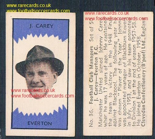 1959 Clevedon managers Man Utd legend Johnny Carey #36 Everton Man Utd