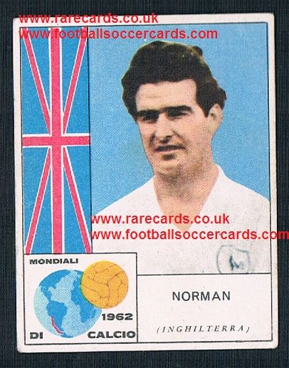 1960s Italian gum card Maurice Norman Norwich Spurs England