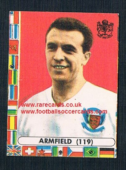 1960s Italian Lampo gum card Jimmy Armfield Blackpool England