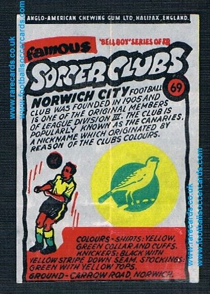 1962 Anglo American Gum bell Boy Famous Soccer Clubs Norwich City 69