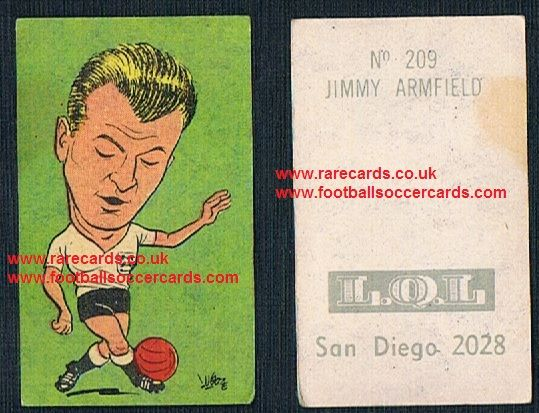 1962 England WC62 Chile-only issue sticker Jimmy Armfield 209 Blackpool England