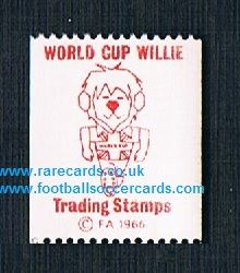 1965 WC66 World Cup Willie trading stamp umm with gum issued by The F.A. the Three Lions mascot