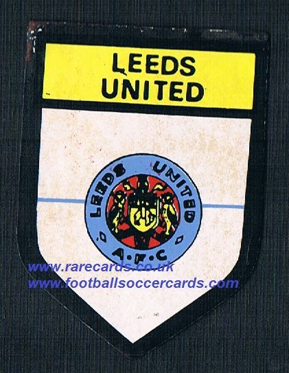 1969 BAB PVC sticker Leeds United round shield with backing paper