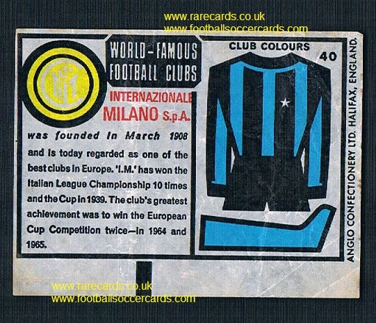 1970 Anglo Gum wax insert World Famous Clubs Inter