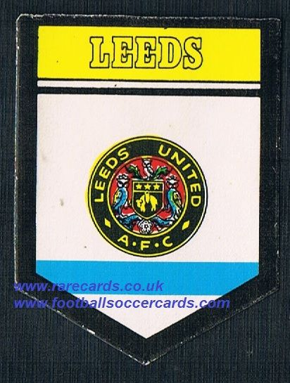 1970 BAB PVC sticker Leeds United square shield with backing paper