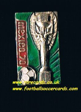 1970 green & red World Cup Jules Rimet Mexico 70 metal badge and pin wc70 wm70
