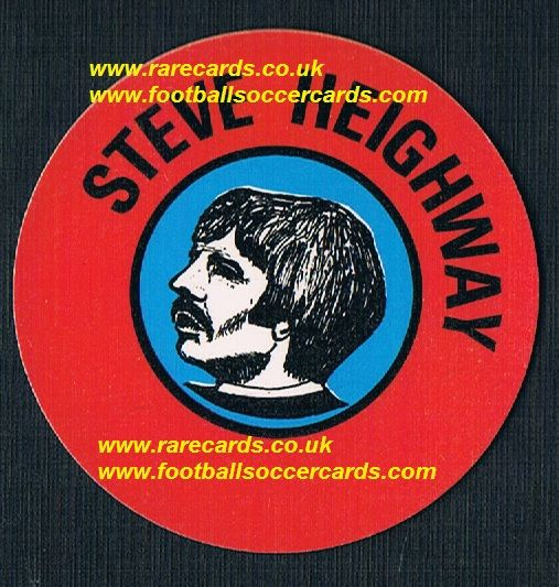 1972 BAB unused Glossy PVC sticker Steve Heighway Liverpool with backing paper