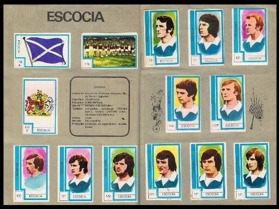 1974 RFA Chile Scotland album page with all stickers fully stuck down