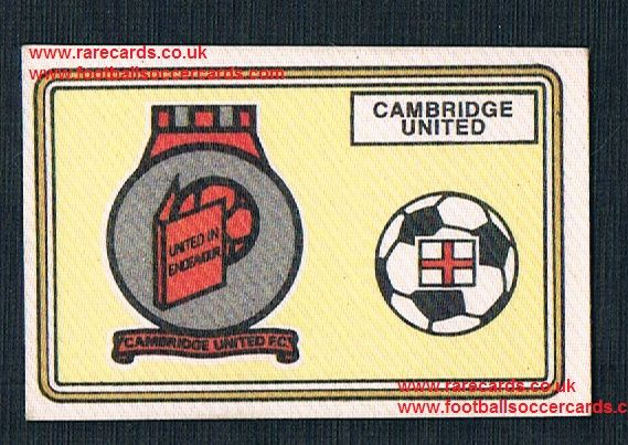 1979 Panini Football 79 silk sticker w backing paper, near new 389 Cambridge United
