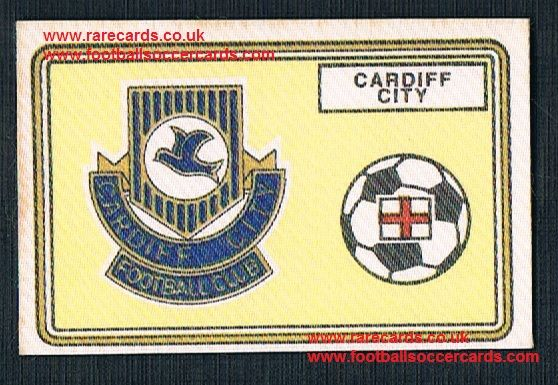 1979 Panini Football 79 silk sticker w backing paper, near new 391 Cardiff City