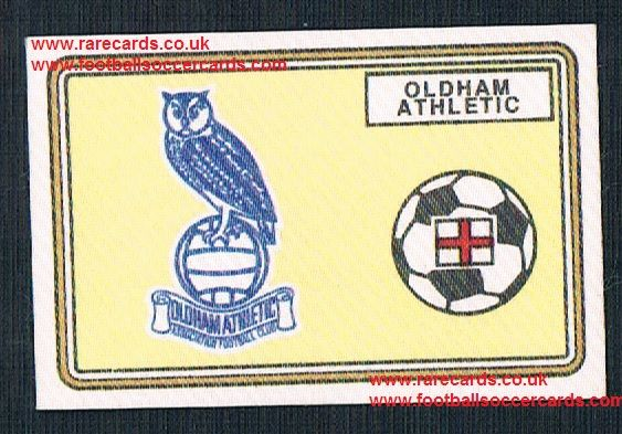 1979 Panini Football 79 silk sticker w backing paper, near new 409 Oldham Athletic