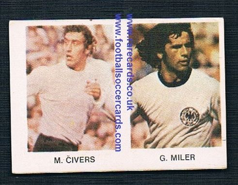 1980 Yugoslavian card Martin Chivers Spurs and Gerd Mueller BRD